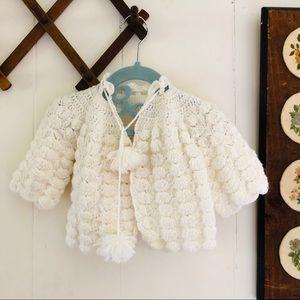 Vintage Hand-knit White Cardigan Sweater